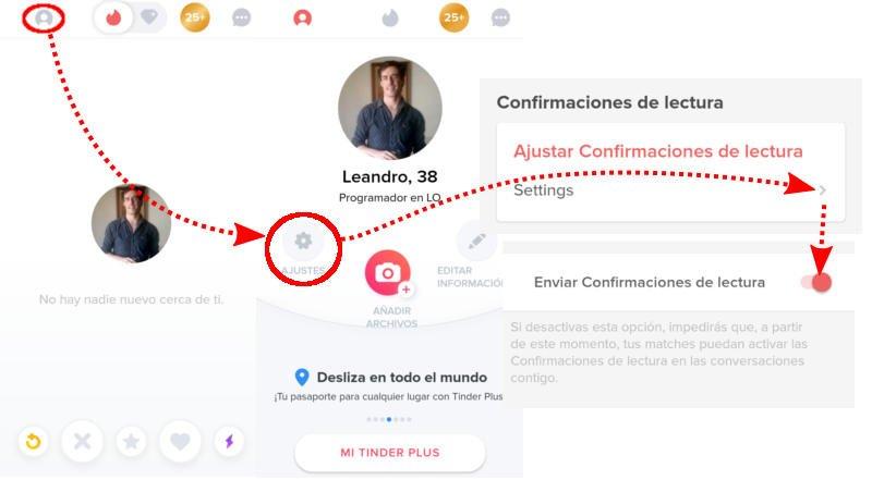 Desactivar confirmación de lectura en Tinder.
